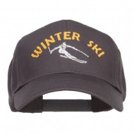 Winter Ski Embroidered Twill Cap - Charcoal