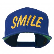Wording of Smile Embroidered Flat Bill Cap - Royal