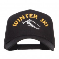 Winter Ski Embroidered Twill Cap - Black