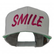 Wording of Smile Embroidered Flat Bill Cap - Silver