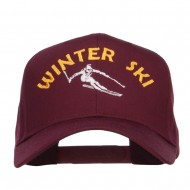 Winter Ski Embroidered Twill Cap - Burgundy
