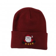Santa with Christmas Lights Embroidered Beanie - Maroon
