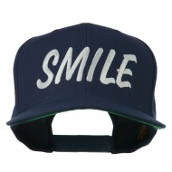 Wording of Smile Embroidered Flat Bill Cap - Navy