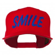 Wording of Smile Embroidered Flat Bill Cap - Red