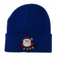 Santa with Christmas Lights Embroidered Beanie - Royal