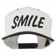 Wording of Smile Embroidered Flat Bill Cap - Natural Black