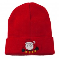 Santa with Christmas Lights Embroidered Beanie - Red