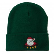 Santa with Christmas Lights Embroidered Beanie - Green