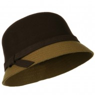 Wool Felt Two Tone Cloche Hat - Brown Light Brown