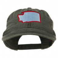 Washington State Map Embroidered Washed Cotton Cap - Black