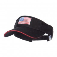 American Flag Embroidered Cotton Sandwich Visor - Black Red