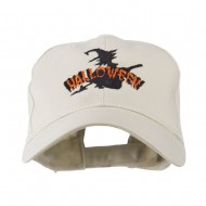 Halloween Witch in Flight Embroidered Cap - Stone