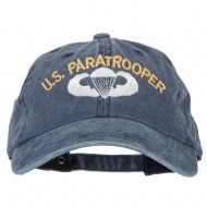 US Paratrooper Embroidered Washed Cotton Twill Cap - Navy