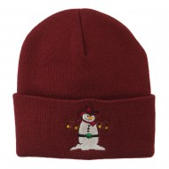 Western Snowman Christmas Embroidered Beanie - Maroon
