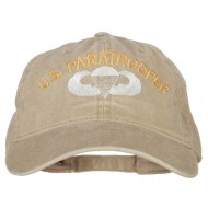 US Paratrooper Embroidered Washed Cotton Twill Cap - Khaki
