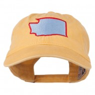 Washington State Map Embroidered Washed Cotton Cap - Yellow