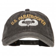 US Paratrooper Embroidered Washed Cotton Twill Cap - Black