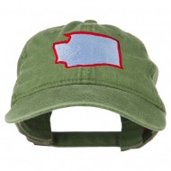 Washington State Map Embroidered Washed Cotton Cap - Olive Green