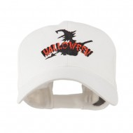 Halloween Witch in Flight Embroidered Cap - White