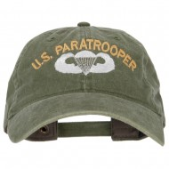 US Paratrooper Embroidered Washed Cotton Twill Cap - Olive