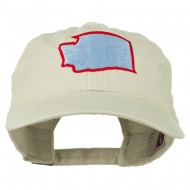 Washington State Map Embroidered Washed Cotton Cap - Stone