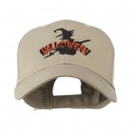 Halloween Witch in Flight Embroidered Cap - Khaki