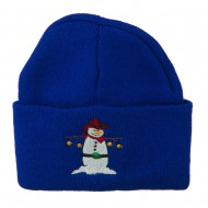 Western Snowman Christmas Embroidered Beanie - Royal