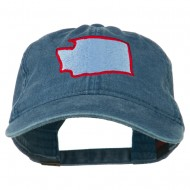 Washington State Map Embroidered Washed Cotton Cap - Navy