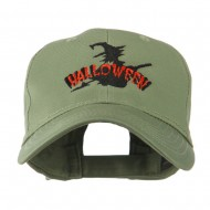 Halloween Witch in Flight Embroidered Cap - Olive
