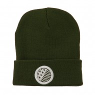 Waving USA Flag Embroidered Long Beanie - Olive