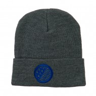 Waving USA Flag Embroidered Long Beanie - Grey