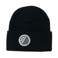 Waving USA Flag Embroidered Long Beanie - Navy