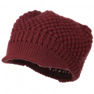 Women's Visored Knit Beanie - Burgundy