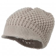 Women's Visored Knit Beanie - Beige