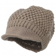 Women's Visored Knit Beanie - Taupe