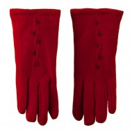 Women's Cashmere Vertical Curve Line Beaded Flowers Glove - Red