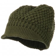 Women's Visored Knit Beanie - Olive