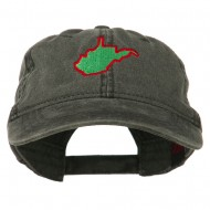 West Virginia State Map Embroidered Washed Cotton Cap - Black