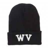WV West Virginia Embroidered Long Beanie - Black