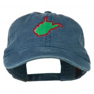West Virginia State Map Embroidered Washed Cotton Cap - Navy