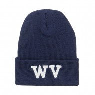 WV West Virginia Embroidered Long Beanie - Navy