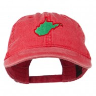 West Virginia State Map Embroidered Washed Cotton Cap - Red