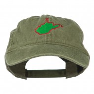 West Virginia State Map Embroidered Washed Cotton Cap - Olive Green