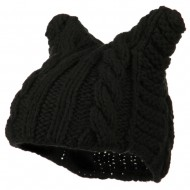 Women's Acrylic Cable Knit Beanie - Black