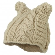 Women's Acrylic Cable Knit Beanie - Cream