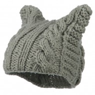 Women's Acrylic Cable Knit Beanie - Grey