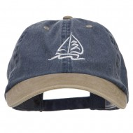 Sailboat Wave Embroidered Washed Two Tone Cap - Navy Khaki