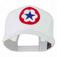WWII Army Service Forces Patched Mesh Back Cap - White