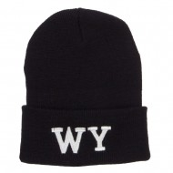 WY Wyoming State Embroidered Long Beanie - Black
