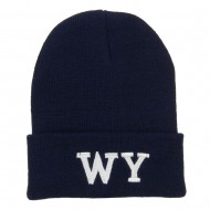 WY Wyoming State Embroidered Long Beanie - Navy